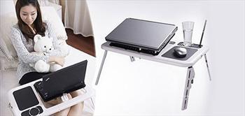 Katlanabilir, So�utuculu, Bardak Hazneli Laptop Masasi!