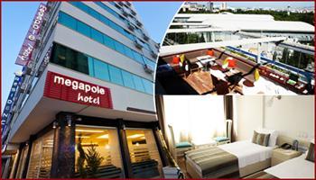 Konfor �ehrin merkezinde! Megapole Hotel'de, 2 Ki�i 1 Gece Konaklama, A��k B�fe Kahvalt�, Ak�am Yeme�i 220 TL yerine %51 grupfoni indirimiyle sadece...