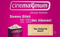 Tüm Türkiye'deki Cinemaximum'larda Geçerli Sinema Bileti Fırsatı 11 TL'den Başlayan Fiyatlarla!